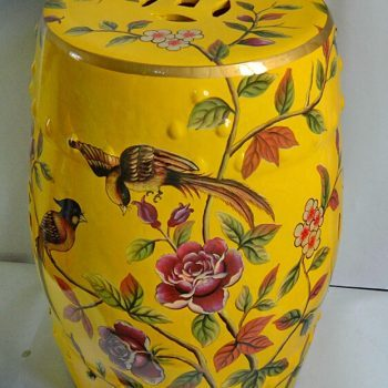 RYYL-Y002-1 景德镇 热销 花鸟 深黄色 中式客厅书房卧室陶瓷鼓凳换鞋凳鼓凳装饰摆