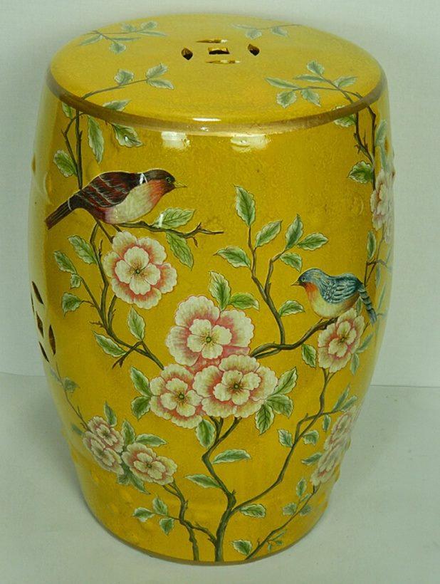景德镇 手绘花鸟 深黄色 陶瓷鼓凳换鞋凳花架家居工艺绣墩装饰摆件