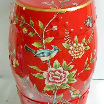 RYYL-Y028   景德镇 颜色釉 红釉花鸟陶瓷鼓凳中式客厅书房卧室陶瓷凳换鞋凳鼓凳装饰摆