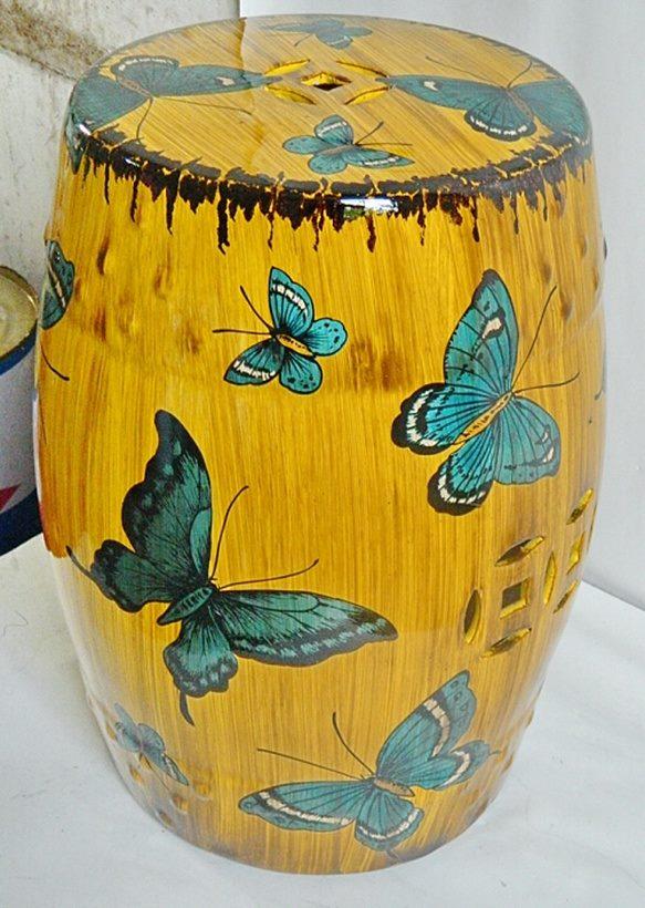 景德镇 深黄蝴蝶欧式陶瓷鼓凳 换鞋凳 陶瓷工艺品家居实用摆件休闲凳子茶边几