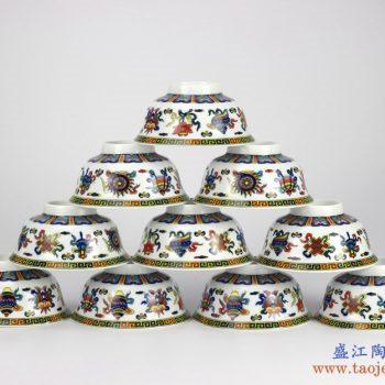 RYYY35-D   景德镇  5寸高温白瓷  八宝 釉中彩环保瓷 高脚碗 米饭碗