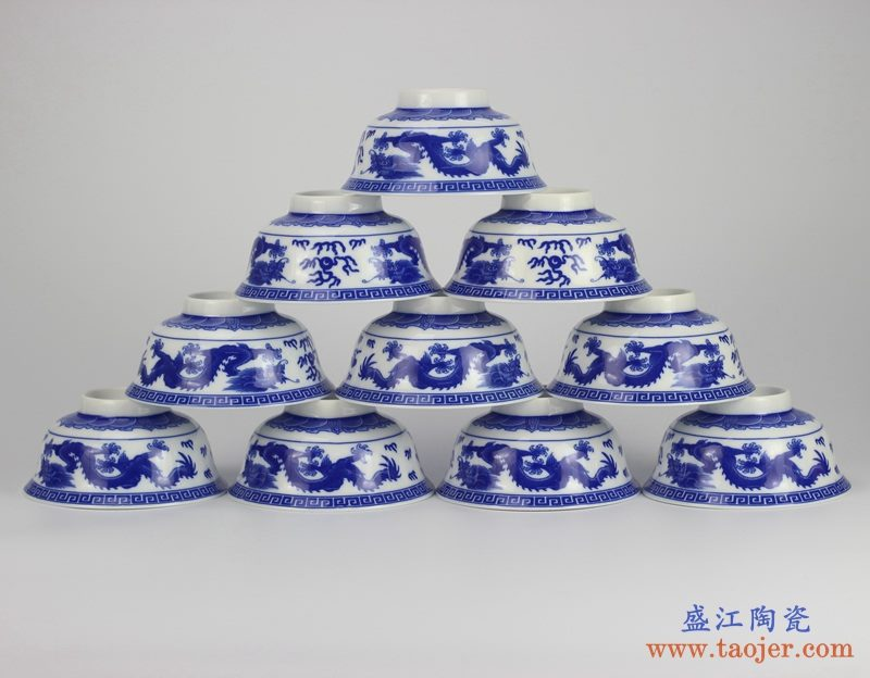 景德镇5寸高温白瓷  八宝 釉中彩环保瓷 高脚碗 米饭碗