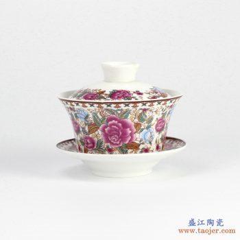 RYYY38-D    景德镇 大号 高温白瓷 彩色牡丹功夫茶具 盖碗 三才碗