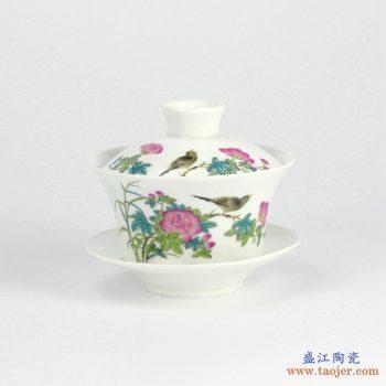 RYYY38-E  景德镇  大号 高温白瓷 彩色花鸟功夫茶具 盖碗 三才碗