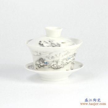 RYYY38-F   景德镇  大号 高温白瓷 彩色雪景功夫茶具 盖碗 三才碗