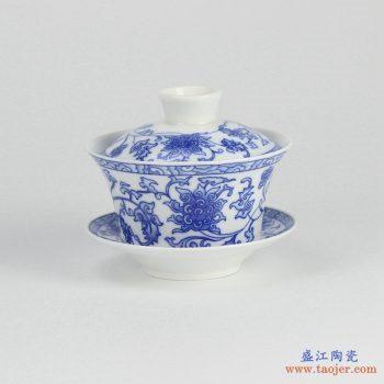 RYYY38-G  景德镇  大号 高温白瓷 青花缠枝功夫茶具 盖碗 三才碗