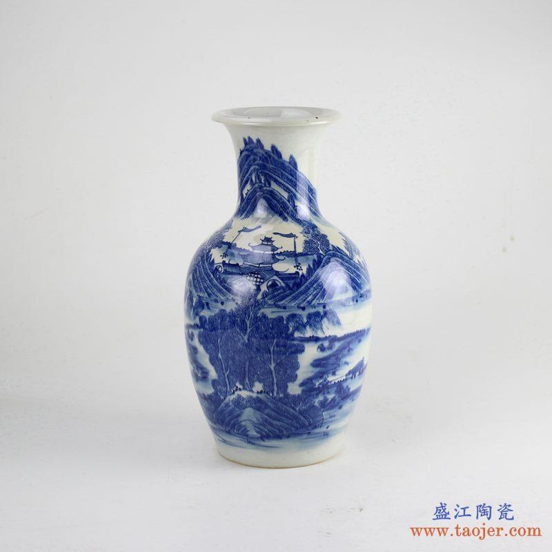 景德镇 仿古青花手绘山水花瓶 瓶子
