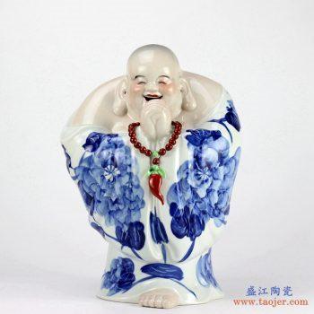 RZEW03   景德镇   恭喜发财哈哈佛座罗汉立体瓷器雕塑居家风水招财摆件