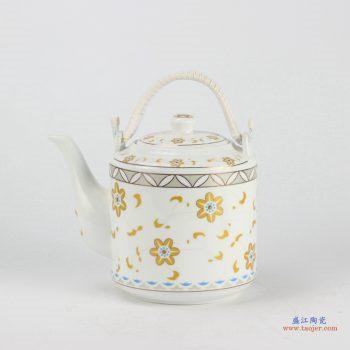 RZFS02  景德镇   彩花 高温白瓷 提梁壶 乔良壶 茶壶 水壶