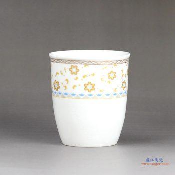 RZFS02-B   景德镇  彩花 高温白瓷 茶杯 小号水杯