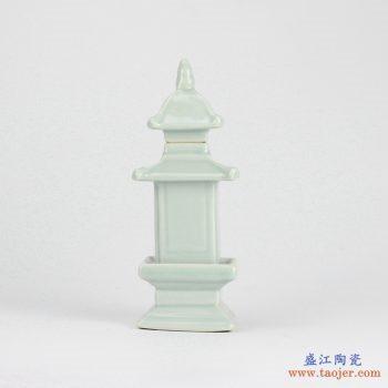 RZGE01-D   雕塑  塔形  淡绿  摆件品