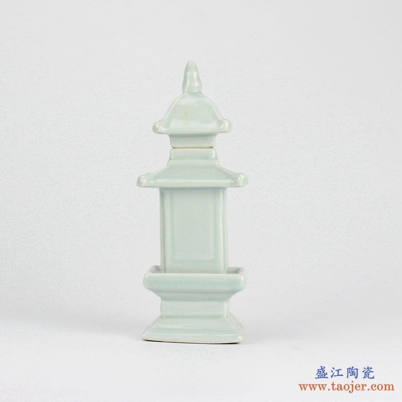 雕塑  塔形  淡绿  摆件品