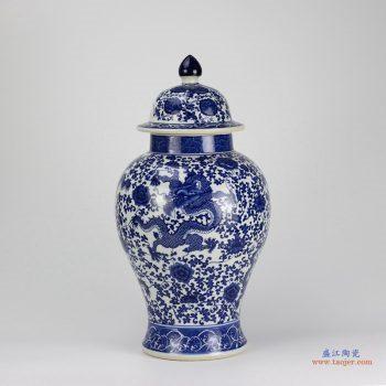 RZGM02   景德镇  青花釉下彩 高温 龙 将军罐 盖罐 罐子镇