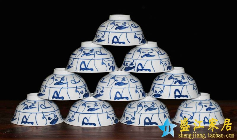景德镇  4.5寸1300度高温白瓷全手绘青花山茶花高脚碗 米饭碗
