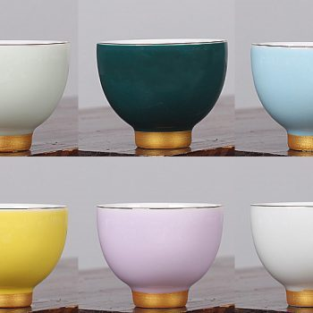 RZHW02-03 景德镇 彩虹之恋 描金六色 茶杯陶瓷功夫茶具彩虹之恋品茗杯个人杯主人杯