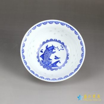 RZHX01-E   景德镇  釉下彩 高温 青花玲珑 环保瓷 米通 饭碗 米饭碗 游鱼