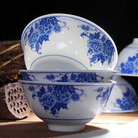 景德镇 釉下彩 高温 青花玲珑 环保瓷 米通 饭碗 米饭碗 5寸 芙蓉花