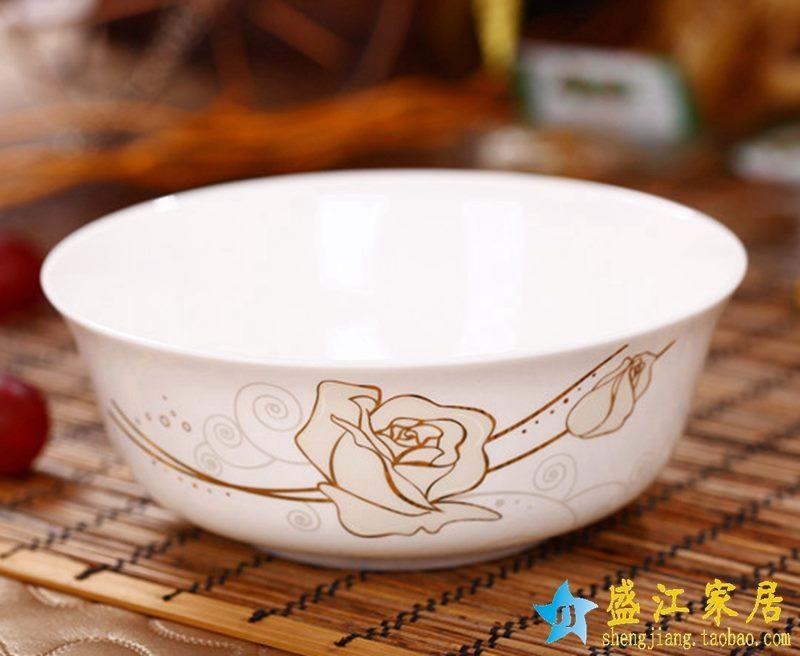 景德镇  6英寸高档骨瓷骨质瓷面碗 金玫瑰