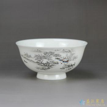 RZHY02-E  景德镇  4.5寸骨质瓷骨瓷饭碗 雪景高脚碗防烫   饭碗