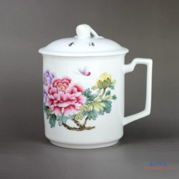 RZIC01-C   1300度高温白玉瓷 景德镇 粉彩牡丹蝴蝶 办公茶杯 水杯(大号600毫升)