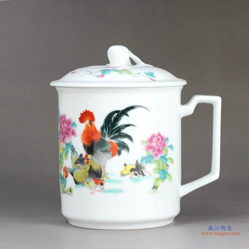 1300度高温白玉瓷 公鸡牡丹 景德镇 办公茶杯 水杯(大号600毫升)