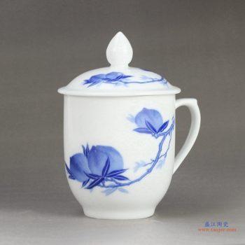 RZIC03-C 1300度高白玉瓷 景德镇 青花寿桃 办公杯 茶杯 水杯