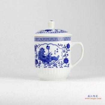RZID01 青花牡丹 景德镇高温白瓷 荷花 霸王杯 茶杯 水杯