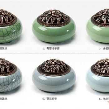 RZIE02-2  景德镇 龙泉 哥窑 粉青釉 开片 裂纹 黑线 小香炉