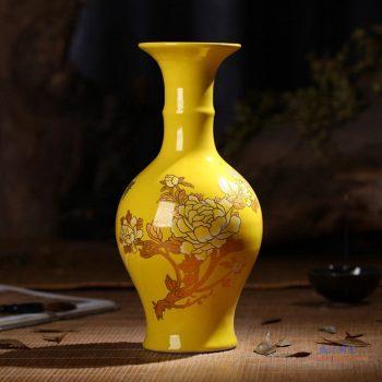 RZIF01-C26-B 景德镇 高温颜色釉 帝王黄釉 釉上彩 金牡丹 花瓶