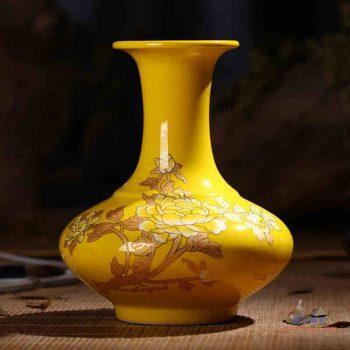 RZIF01-C26-C   景德镇 高温颜色釉 帝王黄釉 釉上彩 金牡丹   扁肚瓶 花瓶