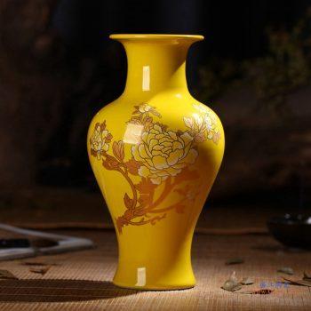 RZIF01-C26-D   景德镇  高温颜色釉 帝王黄釉 釉上彩 金牡丹    花瓶