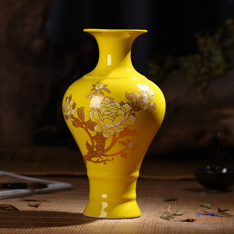 景德镇 高温颜色釉 帝王黄釉 釉上彩 金牡丹   花瓶 鱼尾瓶
