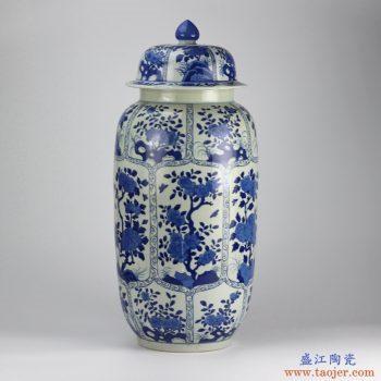 RZIG01  手绘青花开光 开窗 将军罐 罐子