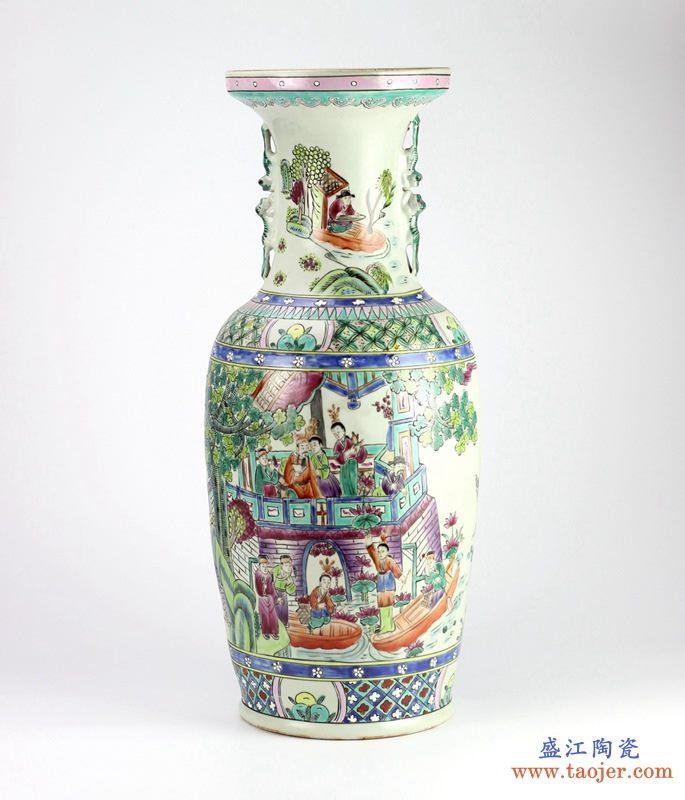 手绘粉彩仿古人物花瓶