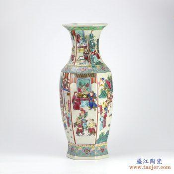 RZIH02  手绘六方镶器 仿古粉彩 人物战将 花瓶花插