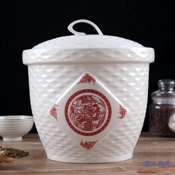RZII10-D-  骨质瓷 花好月圆  米缸米桶储米箱防潮虫油缸储罐米坛 15斤装