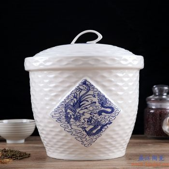 RZII10-I 高白瓷 青花 龙凤呈祥  米缸米桶储米箱防潮虫油缸储罐米坛 15斤装