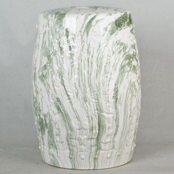 XY16-3191  景德镇 经典传统凳 圆形大理石绿条纹路效果中高温陶瓷色釉瓷墩厂家直销