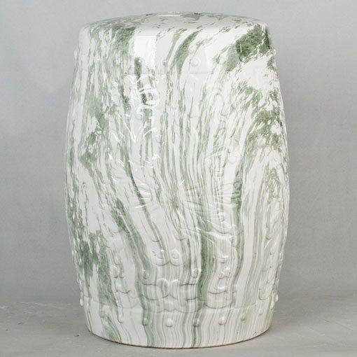 景德镇 经典传统凳 圆形大理石绿条纹路效果中高温陶瓷色釉瓷墩厂家直销