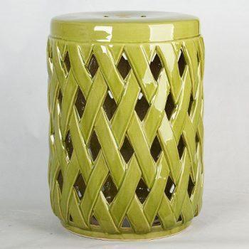 XY16-3421   深绿色中高温破坏仿古做旧古典镂空中高温陶瓷凳简约美式厂家直销