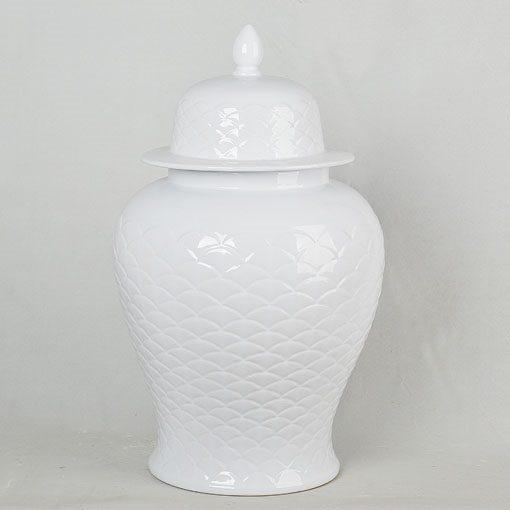 景德镇 雕刻全白 大号 将军罐 花瓶 艺术摆件品