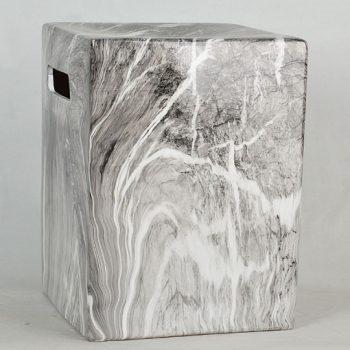 XY16-DSC_0136   景德镇  方形 经典传统凳大理石水墨纹路效果中高温陶瓷色釉瓷墩厂家直销