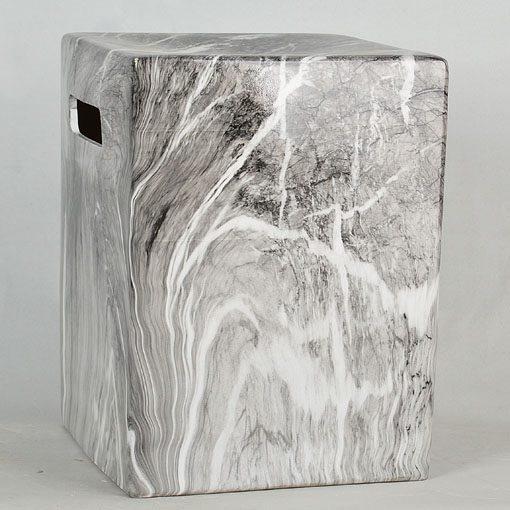 景德镇  方形 经典传统凳大理石水墨纹路效果中高温陶瓷色釉瓷墩厂家直销