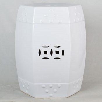 XY16-IW3388   景德镇   全白多边形铜钱凳 中高温陶瓷色釉瓷墩厂家直销