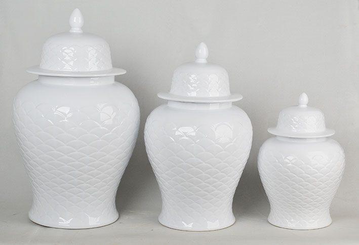 景德镇  雕刻全白  将军罐  花瓶   艺术摆件品