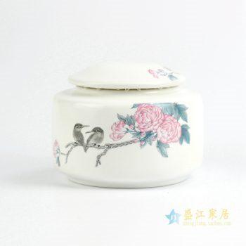 CBAD06   景德镇 亚白 茶叶罐 荣华富贵 花鸟 储物罐  陶瓷罐   厂家直销