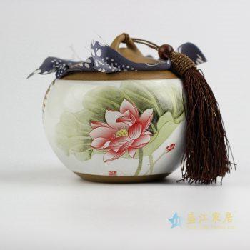 CBAD07   景德镇   荷花   陶泥茶叶罐   储物罐    陶瓷罐