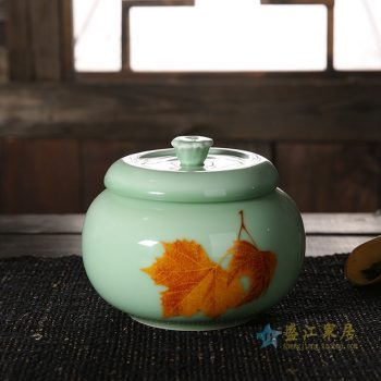 CBAD08-B-A   龙泉青瓷茶叶罐 釉中彩枫叶烤花茶仓 中号陶瓷普洱茶罐 梅子青