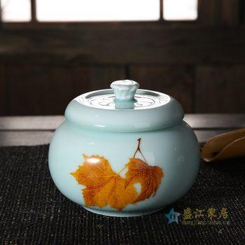 CBAD08-B-B 龙泉青瓷茶叶罐 釉中彩枫叶烤花茶仓 中号陶瓷普洱茶罐 天青