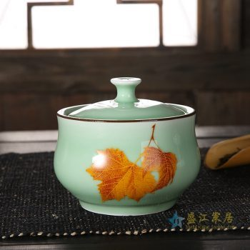 CBAD08-D-A 龙泉青瓷茶叶罐 釉中彩枫叶烤花茶仓 中号陶瓷普洱茶罐 梅子青